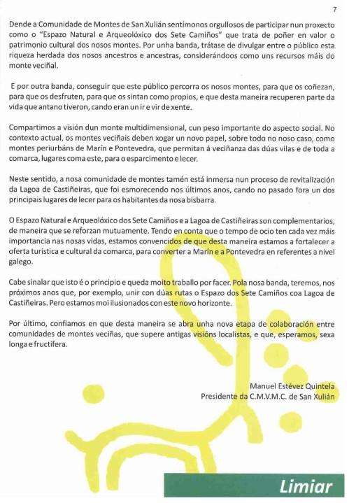 Texto do presidente da Comunidade de Montes de San Xulián, Manuel Estévez.