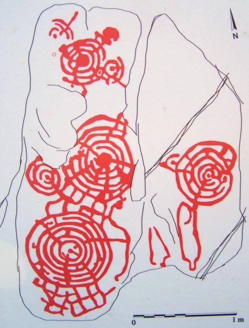Debuxo da rocha nº1 dos petroglifos do Pornedo