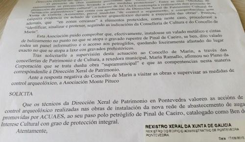 Escrito dirixido ao Servizo Provincial de Patrimonio.