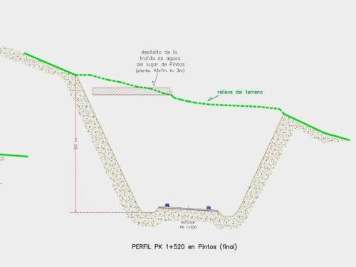 Perfil do desmonte que se fará no Monte da Fracha.