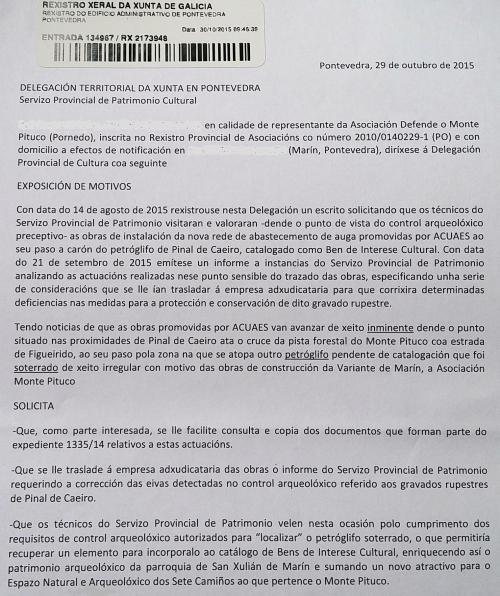 Escrito ao Servizo Provincial de Patrimonio da Xunta