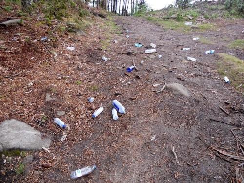 Restos de envases sementados polo chan. (Foto: M. López)
