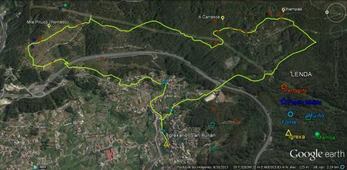 Ruta polos montes de San Xulián (plano, Paulo Troitiño)