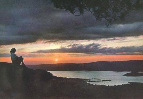 Vista da ría dende o miradoiro do Pornedo, anos 60-70