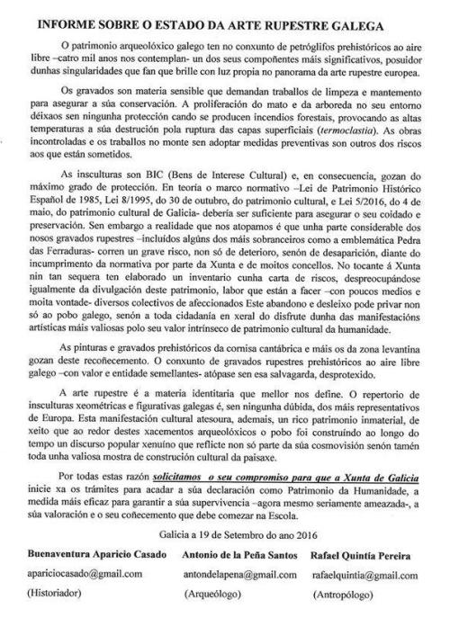 Manifesto SOS Arte Rupestre Galega