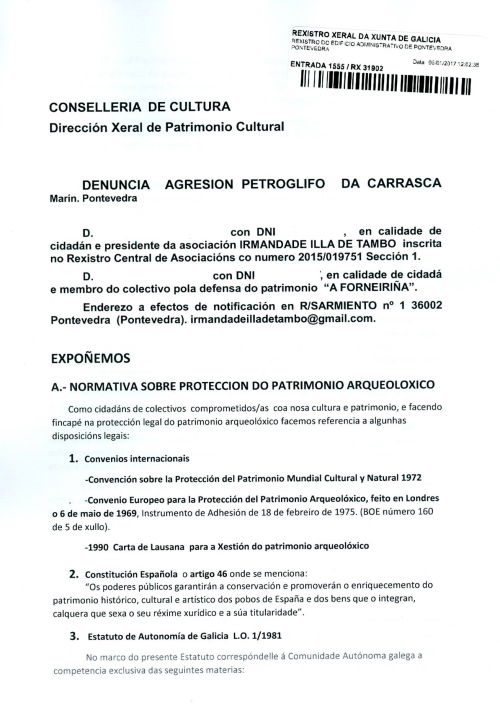 Irmandade Illa de Tambo e A Forneiriña denuncian en Patrimonio