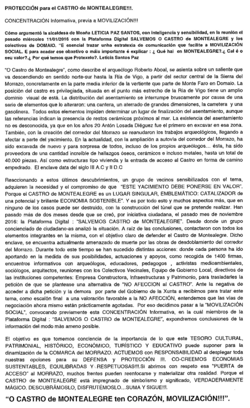 Folleto informativo pola defensa do Castro de Montealegre