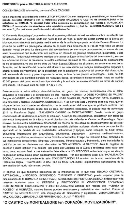 Folleto informativo pola defensa do Castro de Montealegre