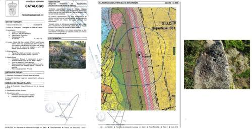 Pifias do catálogo arqueolóxico do PXOM: Pinal de Caeiro.