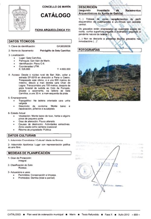 Ficha do petroglifo de Sete Camiños no PXOM de Marín