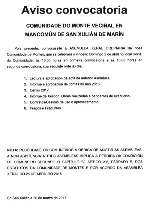 Asemblea na Comunidade de Montes de San Xulián