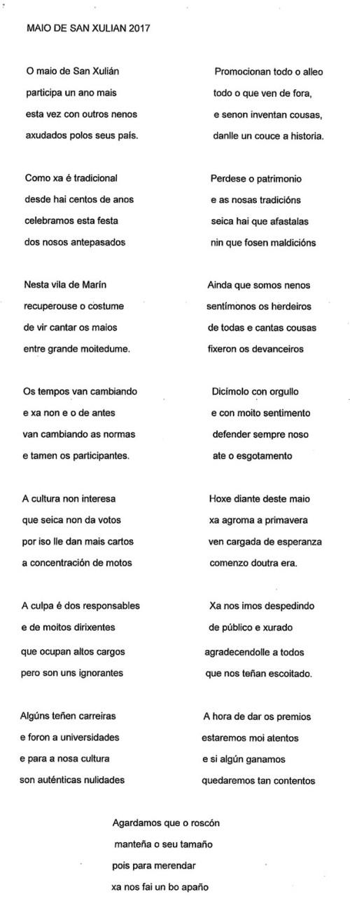 Letra Maio de San Xulián 2017