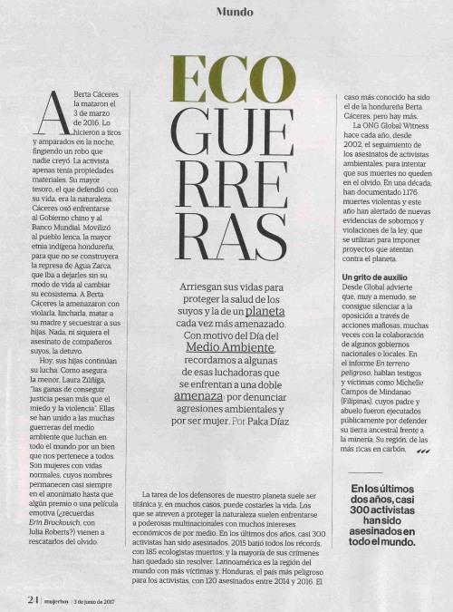 """""""Ecoguerreras"""", Mujer Hoy, 3 xuño 2017"""
