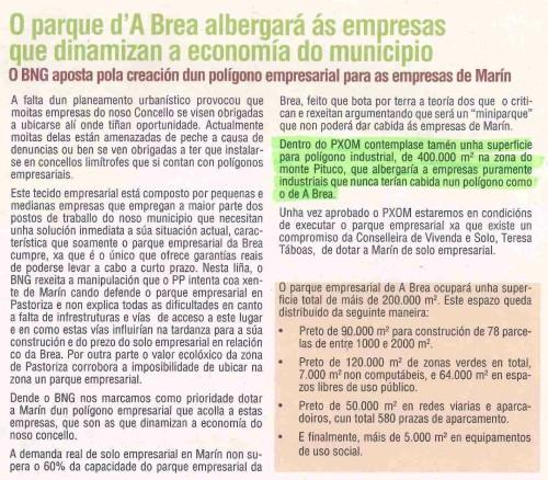 Boletín BNG Marín, febreiro 2009: polígono indistrial no Monte Pituco