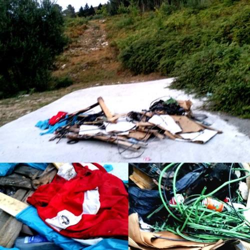 Verquido de lixo no acceso ao Monte Pituco