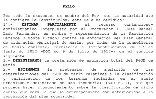 Sentenza do TSXG sobre a demanda contra o PXOM do Concello de Marín