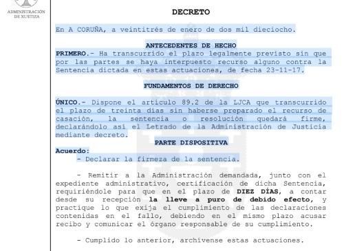 Sentenza FIRME contra o polígono industrial do PXOM de Marín