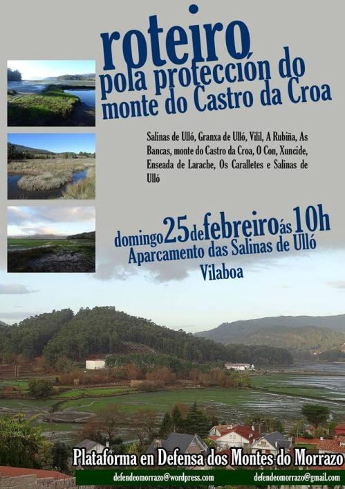 Ruta da Plataforma en Defensa dos Montes do Morrazo pola protección do monte do Castro da Croa, en Vilaboa