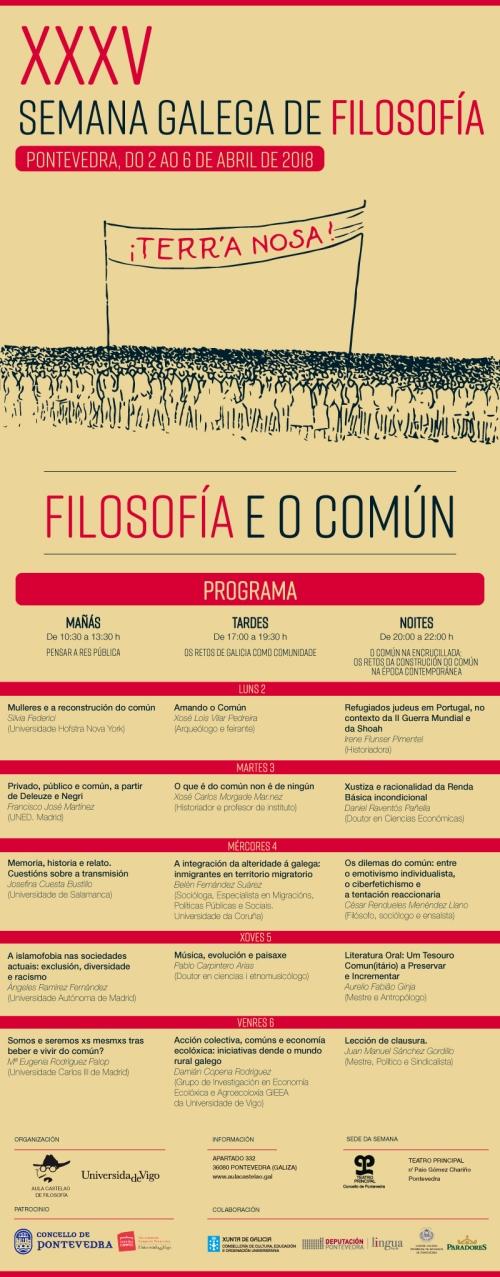 """35ª Semana Galega de Filosofía: """"Filosofía e o común"""""""