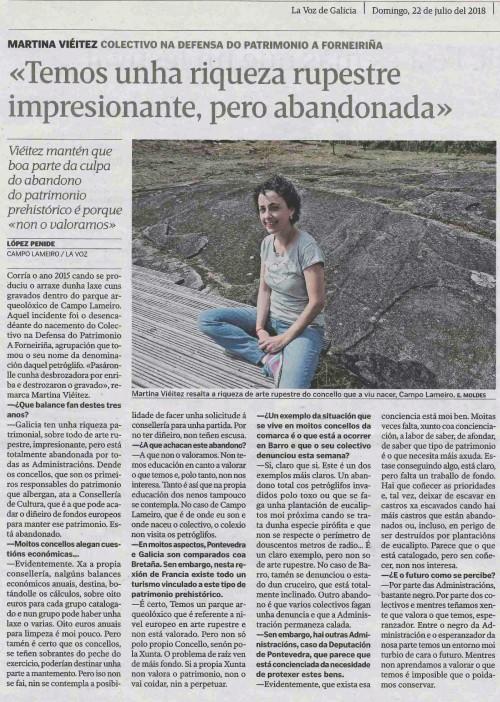 La Voz, 22 xullo 2018