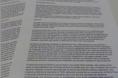 Escrito presentado no Rexistro Municipal do Concello de Marín