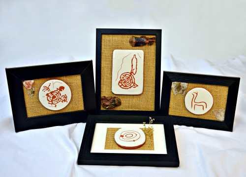 Pezas cerámicas con motivos rupestres do Pornedo. Coa colaboración de Alén das Olas (Marín).