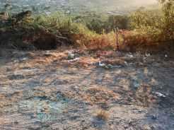 Lixo e residuos na pista de servizo da Variante de Marín, preto do xacemento rupestre de Pinal de Caeiro