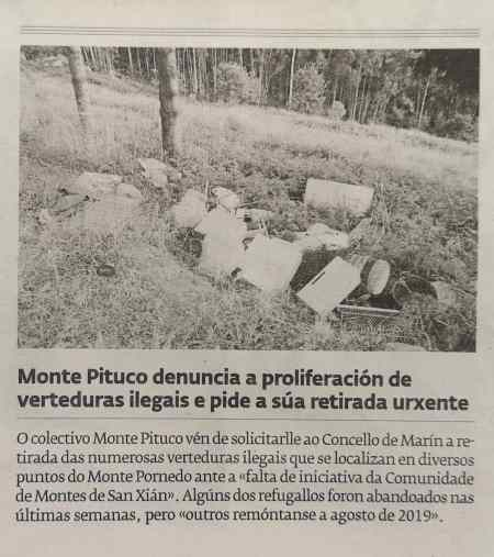 Vertidos no Pornedo: Diario de Pontevedra, 8 agosto 2020