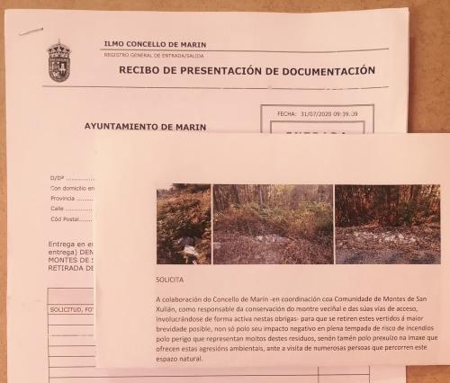 Denuncia perante o Concello de Marín pola proliferación de verteduras